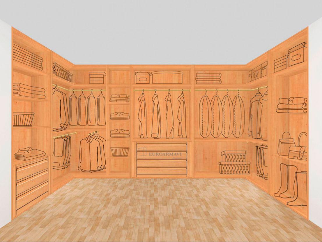 Interior armario vestidor de madera